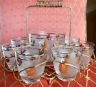 Vintage Libbey Mid Century Gold Leaf Rocks Glasses Ice Bowl Bucket Caddy Carrier