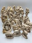 Vintage Atlantic Mold Nativity Ceramic 19 Pc Set Painted Ivory Gold Jewels Nice