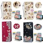 Luxuxy Bling Diamond Rhinestone Crystal PU Leather Card Wallte Case For Phones