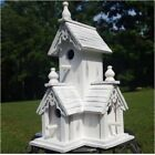 Large White Wood Victorian Style Birdhouse With Gingerbread Trim and 4 Holes