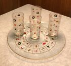 Vintage Set: 4 Culver Christmas Potpourri Tall Glasses AND Matching Tray 14 1/2