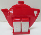 Vintage Plastic Salt and Pepper Shakers in Red Teapot Wall Holder