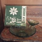 Vintage Mid Century Hazelware Avocado Green Glass Lyric Chip N Dip Bowl with Box