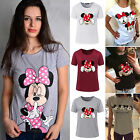 Womens Mickey Minnie Mouse Casual T Shirt Short Sleeve Blouse Slim Fit Tee Top