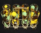 (8) Vintage Retro Gold Leaf Green Yellow Polka Dot Drinking Glasses