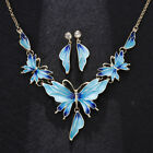 Fashion Butterfly Rhinestone Crystal Pendant Necklace Earrigs Jewelry Set Gifts