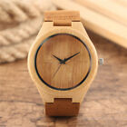 Casual Bamboo Quartz Watches Men Women Leather Strap Wood Wristwatch Gift Cheap