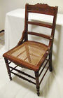 Antique 1880s Eastlake Oak Side / Dining Table Chair, Exc! Original Cane Seat