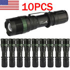 10Pack Tactical High Powered  T6 LED 18650 LED Flashlight Torch Zoomable Lamp