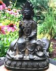 RARE CHINESE MING DYNASTY BRONZE GUANYIN WITH BUDDHIST ELEPHANT FIGURE