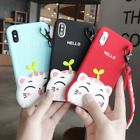 Cute 3D Hello Grass Cat Kitty Soft Protective Silicone Case iPhone 6 7 8 Plus X