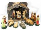 Antique Vtg NATIVITY CRECHE 15 PC CHALK WARE OLD PLASTIC COATED NATIVITY SET