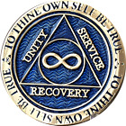 Infinity AA Medallion Blue Gold Plated Alcoholics Anonymous Sobriety Chip Coin