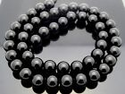 Natural Tektite Black Smooth 8mm Round Meteorite Glass 49 Beads 15 Strand