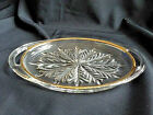 VTG CLEAR GLASS OVAL CONDIMENT RELISH SERVING DISH W/HANDLES GOLD RIM
