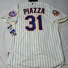 Authentic Majestic 44 LARGE NEW YORK METS MIKE PIAZZA COOLBASE SHEA PATCH Jersey