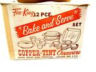 Vintage Fire King 12pc Bake and Serve Set-Copper Tint in Original Box