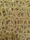 African Lace Fabricremnants Scraps 1.4 - 3.5 Yards Gold Sequined Design