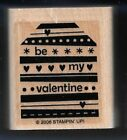 BE MY VALENTINE Love Heart Dots Line Gift Tag Card Stampin Up! 2006 RUBBER STAMP