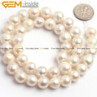 Natural White Round Edison Nucleated Pearl Loose Beads Jewelry Making Strand 15