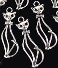 10 Kitty Charms Pendant Antique Silver Pewter 50s Style Cat 34mm