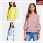 Women Casual 3/4 Sleeve Striped or Solid Back Split Bead Club Wear S-dhirt Tops