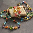 NEW SWEET ROMANCE MILLEFIORI GLASS  CRYSTAL PRISM 48 NECKLACE MADE IN USA