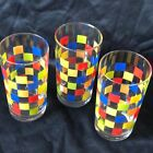 Vintage Libby Juice Glasses Set of 3 Mid-Century Checkerboard Primary Colors 5