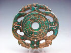 Old Nephrite Jade Stone Carved LARGE Pendant 2 Dragons Lotus Flowers #08291817
