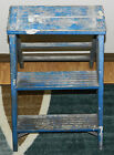 FABULOUS DISTRESSED PRIMITIVE PAINTED BLUE WOOD FOLDING STEP LADDER/STOOL!!