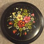 Hand Painted Round Lacquer Trinket Box Floral Motif Red Interior Russia USSR