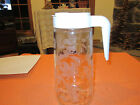 VINTAGE ANCHOR HOCKING 1 QT TANG GLASS LILLIES FLOWER FLIP TOP PITCHER DISPENSER