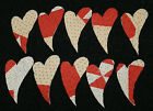 10 ANTIQUE CUTTER QUILT PRIMITIVE LG CURVY HEARTS! RED WHITE VALENTINES DAY! #2