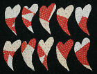 10 ANTIQUE CUTTER QUILT SM PRIMITIVE CURVY HEARTS! RED WHITE VALENTINES DAY! #2