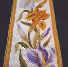 French antique unused hand made needlepoint lilies irises metallic cording 1800s