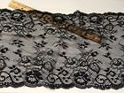Stretch Black Embroidered Border Lace Trim for Sewing Crafts Lingerie 9 Wide