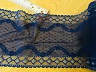 Stretch Navy Blue Embroidered Border Lace Trim Sewing Lingerie Crafts