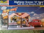 New NOS Revell Highway Scenes 1937 Ford Nicks Drive In Diorama Model Kit 1:24