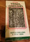 Christmas FC Young Silver Deluxe Tinsel Garland 15 ft USA vintage WB Box
