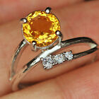 12.85Ct 100% Natural 18K Gold Plated Unique Golden Citrine Faceted Ring UDQY83
