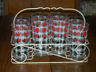 Vtg.Mid-Century Black White Red Playing Card 10 oz. Beverage Tumblers in Carrier