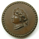 BB Antique Hard Rubber Button Back marked Goodyear Grecian Lady Head 1
