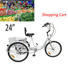 3 Wheel 6 Speed Adult 24 Tricycle Bike Bicycle Trike Cruise Elder Shopping Cart