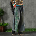 Womens Vintage Fashion Embroidery Wide Leg Jeans Casual Straight Denim Trousers