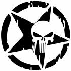 STAR Punisher Skull Decal Vinyl Sticker Wrangler Renegade Rubicon Willys