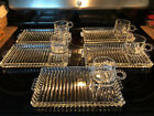 5 Sets Vtg Hazel Atlas Glass Luncheon Snack Trays and Boopie Ball And Rib Design