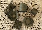 6pc Set Mini Kitchen Ornaments Tree Wreath Primitive Bowl Fillers Gray Tin