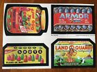 WACKY PACKAGES 1979 UNCUT SET OF 4 STICKERS RAW GOO ARMOR SHOTS LAND O QUAKES