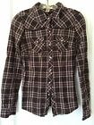 Arizona Jeans Womens Western Style Plaid Pearl Snap Fitted Cowboy Shirt Vintage