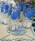 4 Vintage Blue White Apples Peanut Butter Beverage Glasses Hazel Atlas